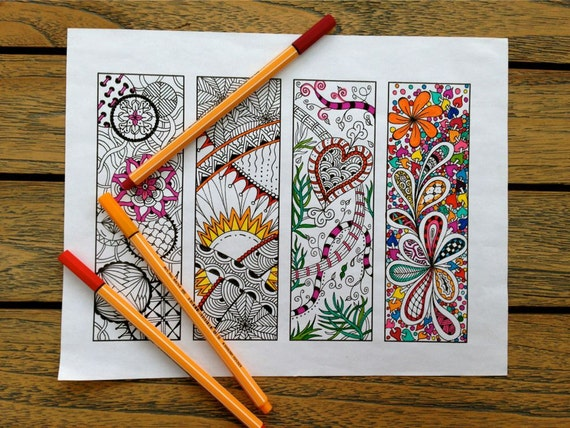 Printable Bookmarks - Bookmark Coloring Page - Zentangle Inspired - Digital Download - Bookmark Number 1