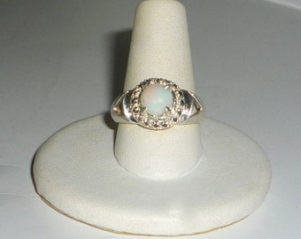 Australian Opal Ring & Natural Sapphires Sterling Silver .925