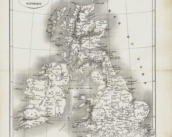 1872 Antique ENGLAND map, historical England map. Great Britain, Ireland, Scotland, United Kingdom