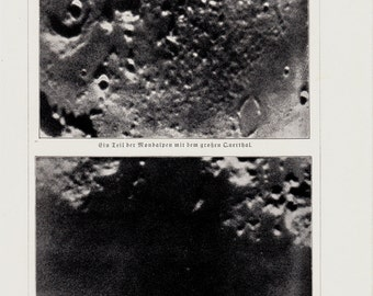 1898 Original Antique moon print, lunar craters, lunar surface, old astronomy photo