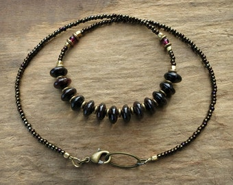 Rustic Dark Garnet Necklace, elegant Bohemian style January birthstone jewelry with dark red almost black garnet beads