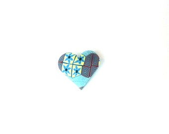 Small Blue Heart Brooch, Millefiori, Pin Badge,Polymer Clay, Fimo, Supremily Jewellery