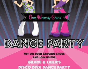 Disco Dance Party Birthday Invitations, 70s Disco Party Invitations, Printable or Printed