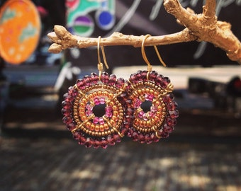 Beaded Earrings, Purple Earrings, African Jewelry, Handmade Jewelry Beaded
