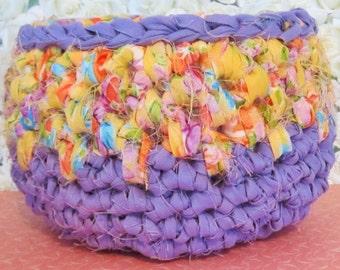 Purple and Yellow Rag Crochet Basket