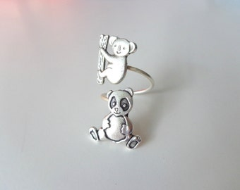 koala panda ring, adjustable ring, animal ring, silver ring, statement ring