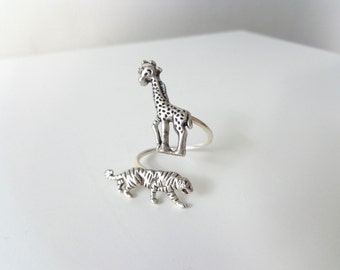 silver tiger  giraffe ring, wrap style, adjustable ring