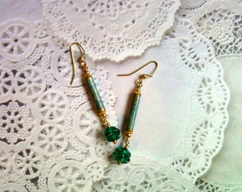 Teal Blue and Gold Earrings (1945)