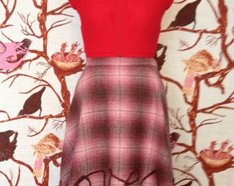 """FREE SHIP Romantic Witness """"He loves you"""" Rustic Pink Plaid Wool Flannel Hi Low Short Long Back Full High Waist Circle Size Medium M 4-8 28"""""""