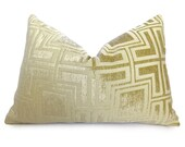 Velvet Greek Key Pillow Cover - Buttercup Gold - Yellow - 12x18 inch - BOTH SIDES - Decorative Pillow - Throw Pillow - Gold Pillow