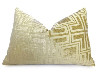 Velvet Greek Key Pillow Cover - Buttercup Gold - Yellow - 12x18 inch - BOTH SIDES - Decorative Pillow - Throw Pillow - Gold Pillow