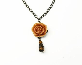 Tangerine Orange Victorian Rose Necklace with Brass Filigree & Czech Crystal