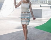 Sale - Hand Knitted Zigzag Retro Mini Dress - one of a kind - 40%
