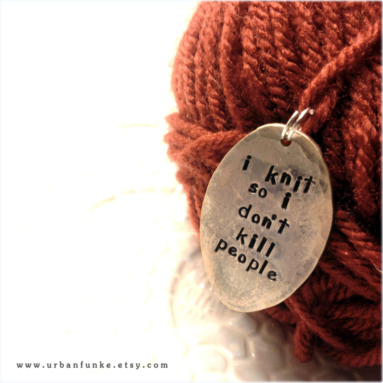 Knitting Markers Etsy : Stitch marker i knit so don t kill people silver