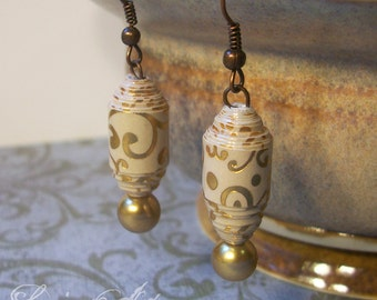 Gold Swirl earrings - Paper Bead Earrings - Handrolled - Christmas earrings, earthy, natural - Eco Friendly and lightweight - FREE SHIPPING