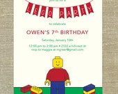Lego Birthday Party Invitations set of 21 with matching envelopes & return address printing; customizable for girls and boys