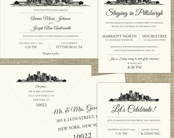 Pittsburgh Skyline Wedding invitation; SAMPLE ONLY