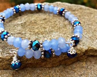 Beaded Wrap Bracelet in Shades of Blue