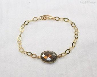 Pyrite Bezel Bracelet, Bezel Stones, Pyrite Jewelry, Vermeil Diamond Chain