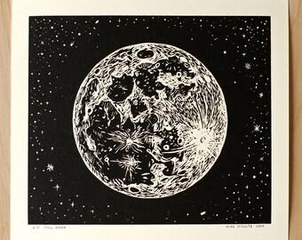 Full Moon - Handmade Linocut Print