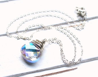 Clear AB Pendant Necklace, Aurora Borealis Swarovski Crystal Wire Wrapped Flat Pear Teardrop, Sterling Silver Cable Chain, Sparkly, Shimmer