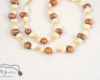 Brown,  Cream,  Freshwater Pearls,  Gold Filled Beads, beaded necklace