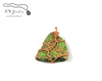 Green, Impression Jasper, Copper, Pendant, wire wrapped pendant, necklace, handmade jewelry, wire pendant, wire wrap, wire wrapping,