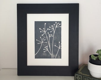 Hand Pulled Botanical Decor Relief PRINT Grey Flowers 8x10 Floral Art