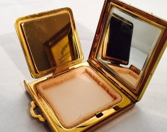 Vintage Gold Tone Powder Compact, Oregon State College 1937,  Vanity Accessory
