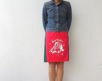 Just Believe T Shirt Skirt Christmas Skirt Womens Skirt Green Red White Recycled Upcycled Straight Cotton Skirt Fashion Soft Winter ohzie