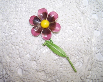 Vintage Enamel Flower Brooch Jewelry Purple with Yellow Center Large VTG Autumn Fall Fashion Accessory Pin 60s or 70s style