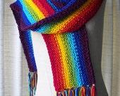 Chakra Rainbow Hand Knit Fringed LONG Scarf SOFT ACRYLIC /  Hippie Scarf