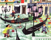 Flooding in Square in Venice Italy, 1960s vintage mid century illustration