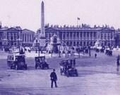 1890s photogravure of Place de la Concorde in Paris, vintage Paris print