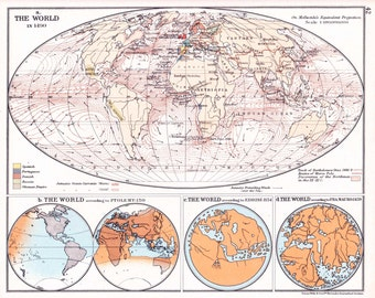 Historical World map, historical map of the World in 1490 from 1938 atlas