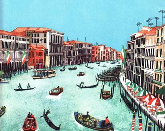Boats on the Grand Canal in Venice Italy, 1960s vintage mid century illustration