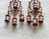 Shimmering Pink Princess Earrings In Copper