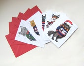 Christmas Cat Cards set of 5 Cats in Jumpers