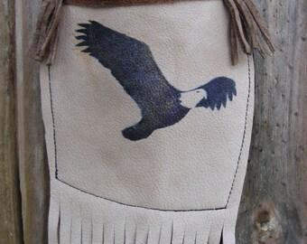 Medicine Bag, Eagle, Medicine Pouch, Mobile Phone Bag, Native American Inspired, Leather Bag