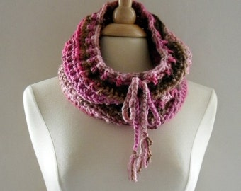 Crochet Cowl Scarf Neckwarmer Women Over the Ridge with Drawstring in Pinks and Browns