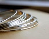 Single Sterling Silver Bangle -  hammered bangle, stacking bangle, gold bracelet