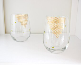 Bees and Honeycomb Hand Painted Wine Glasses - Set of 2 - Stemmed or Stemless