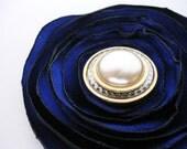 Sapphire Flower Hair Clip Brooch Pin, Blue Gold Pearl