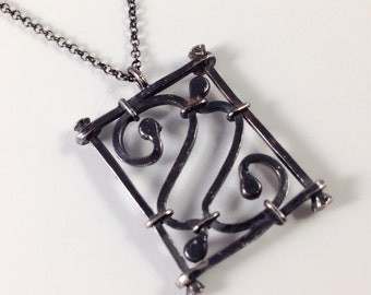 Ornamental Grille Pendant, Black Sterling Silver Handmade