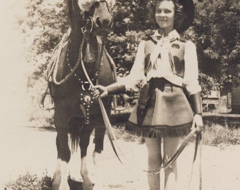 Pretty Little COWGIRL With SKINNY LEGS Stands Next to Her Horse Photo Circa 1930s