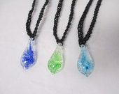 GLOW IN DARK Flower Black Hemp Necklace Glass - You Choose (1) Color Pendant -   Blue, Green, or Turquoise