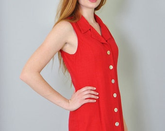 Vintage Dress 90s Red Linen Sleeveless Summer Minimalist Button Up Dress M Medium