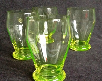 Beautiful series of 4 delicate bright green uranium glasses. Collectible hostess gift idea.