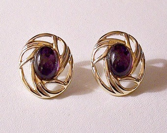Oval Purple Lucite Bead Disc Pierced Stud Earrings Gold Tone Vintage Open Ribbed Wide Edge Swirl Buttons