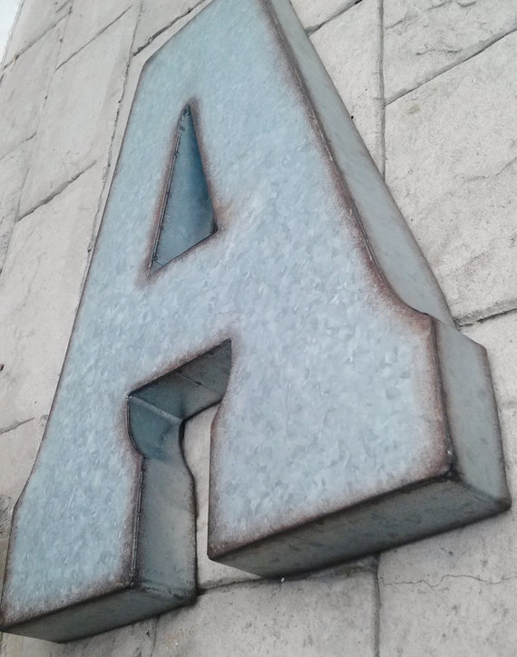 Lettres Decoration Zinc : Large metal letter zinc steel initial home room decor diy